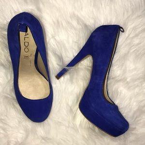 ALDO Blue Leather Platform Heels Size 6.5 / 37